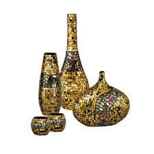 Dale Tiffany's home decor line grows with antique gold mosaic pieces such as, from left, a two-piece candle holder set and grand, tall and decorative vases. daletiffany.com