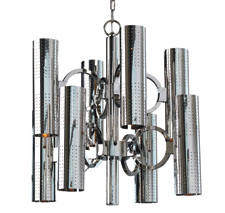Global Views' O Pipe chandelier is based on a mid-century design and is of nickel-plated brass. It holds 16 candelabra bulbs and has a nickel canopy. globalviews.com