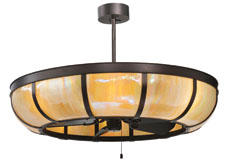 The latest addition to Meyda's Chandel-Air family, the 44-inch Plain Dome Chandel-Air features bent stained glass lighting with ceiling fan technology. meyda.com