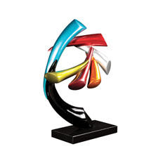 In Las Vegas, Howard Elliot will debut its dramatic multi-color Abstract Pinwheel Sculpture on a black marble base (#63017). howardelliot.com