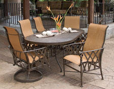 Veranda Sling Dining, one of Pride Family Brands' wrought aluminum offerings. pridefamilybrands.com