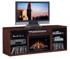 The Alexander electric fireplace and media console features a midnight cherry finish and clean architectural lines for a modern look. An open center shelf features 30 inches of storage space for DVD players. Both side cabinets feature two adjustable shelves for storage and are wide enough for media components and game consoles. Polished nickel door pulls add to the contemporary design. twinstarhome.com