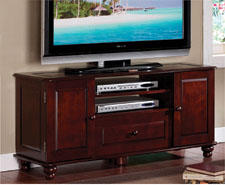 The Clolet Family TV console is 47 inches long, featuring an ash wood veneer. A deep chocolate cherry finish commands attention. The unit includes two side cabinets and component storage. 909-596-2863