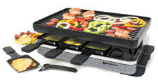 The 1,200-watt Eiger raclette grill from Swissmar has a reversible cast iron grill/crêpe top with an enamelled matte finish. swissmar.com