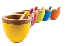 Core Bamboo's new collection of brightly colored bamboo mortar and pestles fuses classic kitchen prep with a modern aesthetic. corebamboo.com