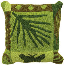 Flora & Fauna is one of a collection of nature-themed pillows for both indoors and outdoors from Jellybean. jellybeanrug.com
