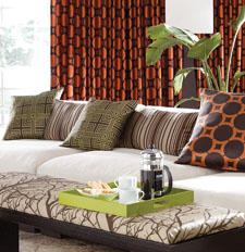 A clean and modern aesthetic characterizes the design on the Element collection of curtains and pillows from Softline Home. softlineonline.com