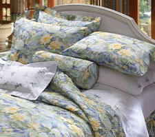 Impressionist artists provide the inspiration in the design of Lily Pad, a new bed ensemble from Cuddledown. cuddledown.com