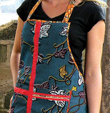 The Adult Apron, made of authentic cotton African wax-print fabric, is new from Sankofa Center. sankofacenter.org