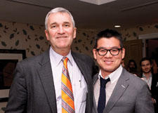 Sferra introduced its new collection with designer Peter Som at a December party at the Crosby Hotel in New York City. Here, Som, right, poses with Sferra's Paul Hooker.