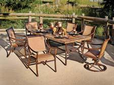 Animal Kingdom Split Sling Dining Collection, (Contact for price) Alternative outdoor dining option with slate-top table agio-usa.com