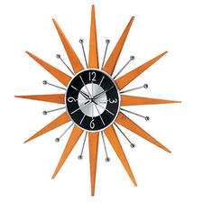Inspired by clocks designed in the 1950s, the Sinclair clock from Kirch features a quartz movement, solid wood spokes and chrome metalized accents.  kirch.com