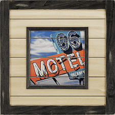 The Motel 66 wall decor piece from Paragon is made in the U.S. and can be used indoors or outdoors. paragonpg.com