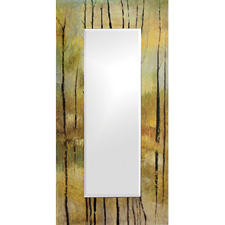 Howard Elliot's Delilah mirror features an abstract, autumn forest watercolor-style painting on a 24-by-48 inch frame. howardelliott.com.