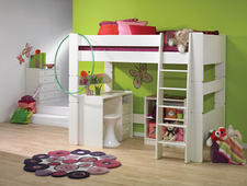 A new collection from the Ark Group can grow with the child, converting from a twin sized bed to a high loft, leaving plenty of space underneath for a lounge area or a desk. arkgrouponline.com