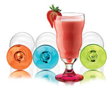 The new Vibrant collection from Libbey makes desserts, specialty drinks and smoothies (glasses shown here) more fun with cool shapes and colors. libbey.com