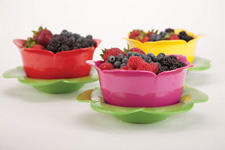New Floral Dew Bowls from Zak Designs feature a sculpted rose colander and serving bowl that nest together, making it easy to rinse and serve in one step. zak.com