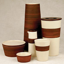 The Pure Nature dinnerware and gift collection from Waechtersbach has a natural crackle finish and a bamboo glaze. waechtersbachusa.com