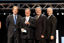 Kirkland's co-founder Carl Kirkland was honored with the ICON 2010 Award for Singular Achievement by a retailer. Here, second from left, he accepts the award from, left, Jeff Portman, AmericasMart, Warren Shoulberg, HFN, and George Kacic, GHTA.