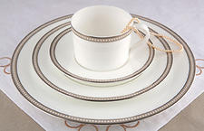 Nikko Ceramics is unveiling Oyster Pearl, a fine bone china pattern with color banding with raised white pearl decorations and platinum rims. nikkoceramics.com
