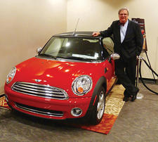Kaleen launched its convertible promotion at AmericasMart, where one lucky buyer will win a Mini Cooper convertible at the January market. Kaleen's 6-foot-6-inches-tall Joe Barkley swears that even he fits comfortably inside it.