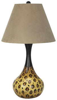 An introduction in Pacific Coast Lighting's National Geographic Home brand, the African Leopard table lamp features a dark bronze finish and a faux suede shade. pacificcoastlighting.com