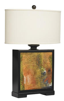 This hand-painted, American-made Dream table lamp from Kichler mimics an abstract piece of art with a canvas-like square base. kichler.com