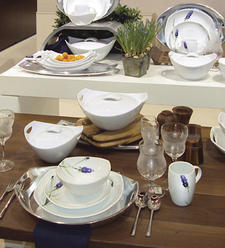 Stalks of lavender provide a new motif for Dansk's Classic Fjord porcelain shapes; long brushstrokes complement the contours of each shape. dansk.com