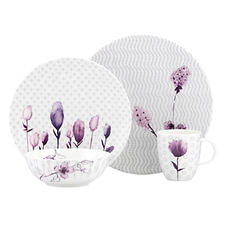 Lenox Simply Fine Watercolor dinnerware combines the artistry of painted florals with subdued geometric backgrounds; colorways include indigo blue, citrus green and amethyst. lenox.com