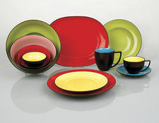Waechtersbach's new porcelain dinnerware collection Duo offers five different colors in a place setting. waechtersbachusa.com