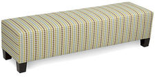 Eastern Accents' Barnard upholstered bench sports this Carlin fabric, one of 400 available for the sleek, streamlined and seamless silhouette that will look perfect at the foot of anyone's equally stylish bed. easternaccents.com