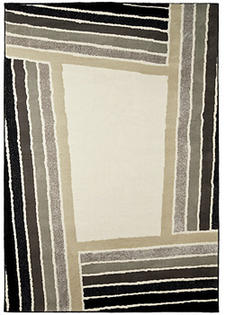 From Orian, the Visions collection, here in the Pantheon design, has the hand of natural wool and a gray, taupe and black color palette. orianrugs.com