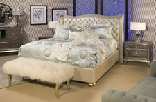 Aico joined forces with Jane Seymour for its first designer brand, introducing three complete collections, including Hollywood Swank, which has star quality written all over this leather-headboarded bed. amini.com