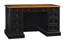Sligh scales down the traditional office desk in this new Weathered Black introduction, which has all the storage elements of a full-size desk in a trimmer 54-inch-wide pedestal silhouette. sligh.com
