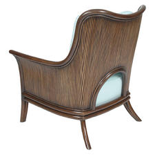 David Francis Furniture showed its Bristol Lounge Chair with slanted wood slatting wrapped around turquoise upholstory. davidfrancisfurniture.com