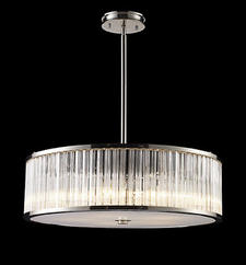 E.L.K. Lighting?s Braxton re-interprets the drum shade, using ribbed extruded glass cylinders instead of fabric. elklighting.com