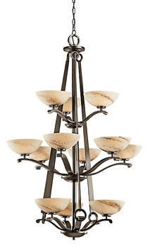 Kichler?s vertically stretched, three-tier Garland chandelier features Umber Shadow Swirl glass that gives each half-oval shade a slightly textured appearance. kichler.com