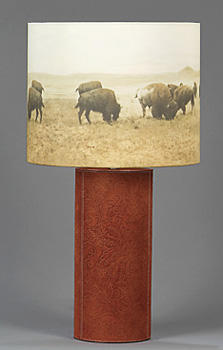 Historic black and white photography is stylized into artisan home furnishings with Westernware Goods? new Cowboy table lamp collection. westernware.net