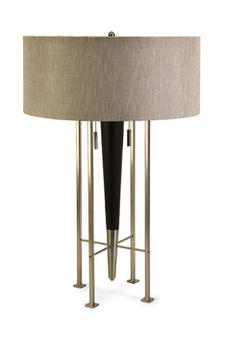 IMAX?s exclusive Spire table lamp, designed by R. Francel Goude, has a linen textured shallow drum shade and a contemporary steel frame. imaxcorp.com