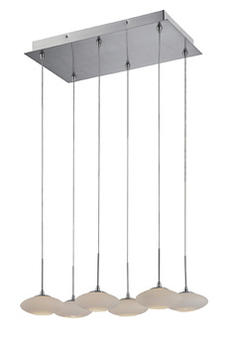A six-light ceiling lamp with polished steel metal canopy, Lite Source?s Lustrato brings a contemporary look to any interior. lite-source.com