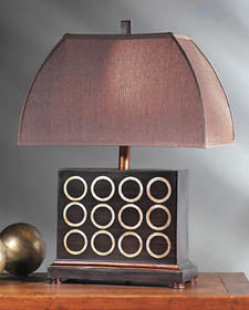 Austin?s Dodekka table lamp, designed by Famulari, is made of durastone and stands 24.25 inches high. austinpro.com