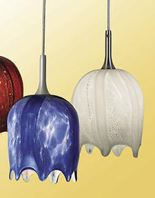 Debuting at the Dallas International Lighting Market, the Waterfall art glass shades for pendants and sconces capture the flowing lines of moving water and are offered in four colors. noralighting.com
