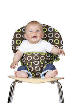 For babies who lunch, the Totseat is a portable and washable fabric highchair that adapts to fit chairs (and babies) of all shapes and sizes. Totseat securely anchors a baby in an adult chair when no highchair is available, and comes in five fabrics. totseat.com