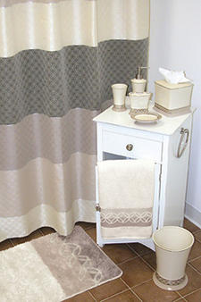 The new Biarritz collection consists of a full ensemble including a shower curtain, bath accessories, towels and bath mat. Its design includes detailed highlights of silver and platinum, mixed with neutral tones to fit into any bathroom?s decor. famoushomefashions.com