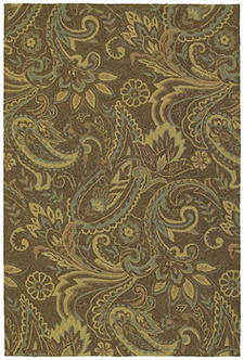 River?s End, in Mocha, from Paula Deen?s Home & Porch Collection, $299 for a 5-by-7.6. A touch of paisley for the porch. 888-464-1447; rugsdirect.com