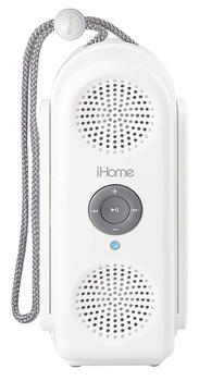 Shower to Shore Water-Resistant Speaker System, $69.99. Listen to your iPod or MP3 player in the shower or on the beach. 800-828-2792, ihomeaudio.com