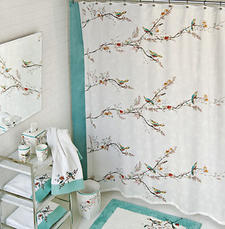 Chirp, $29.99. Lenox-collection shower curtain features birds on trees with aqua accents. 888-227-3945, bardwilhome.com