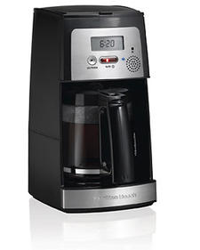 Voice-Activated 12-Cup Coffeemaker, $59.99. Innovative technology allows setting the brew time through voice commands. 800-851-8900, hamiltonbeach.com