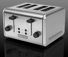 4-Slice Metal Toaster, $129.99. Trademarked Even-Heat System adapts toasting time to ensure consistent browning. 800-999-2811, kitchenaid.com