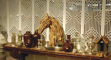 Mercury glass in combination with a classic horse-head sculpture.